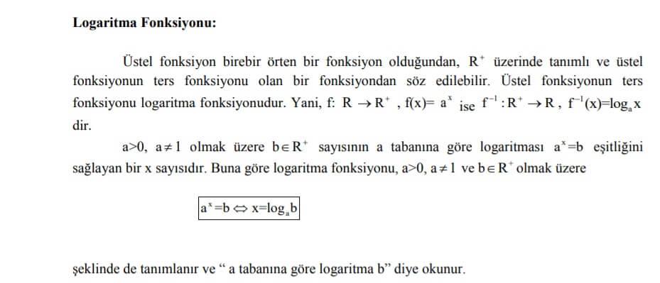logaritma fonksiyonu