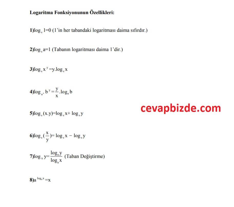 logaritma özellikleri